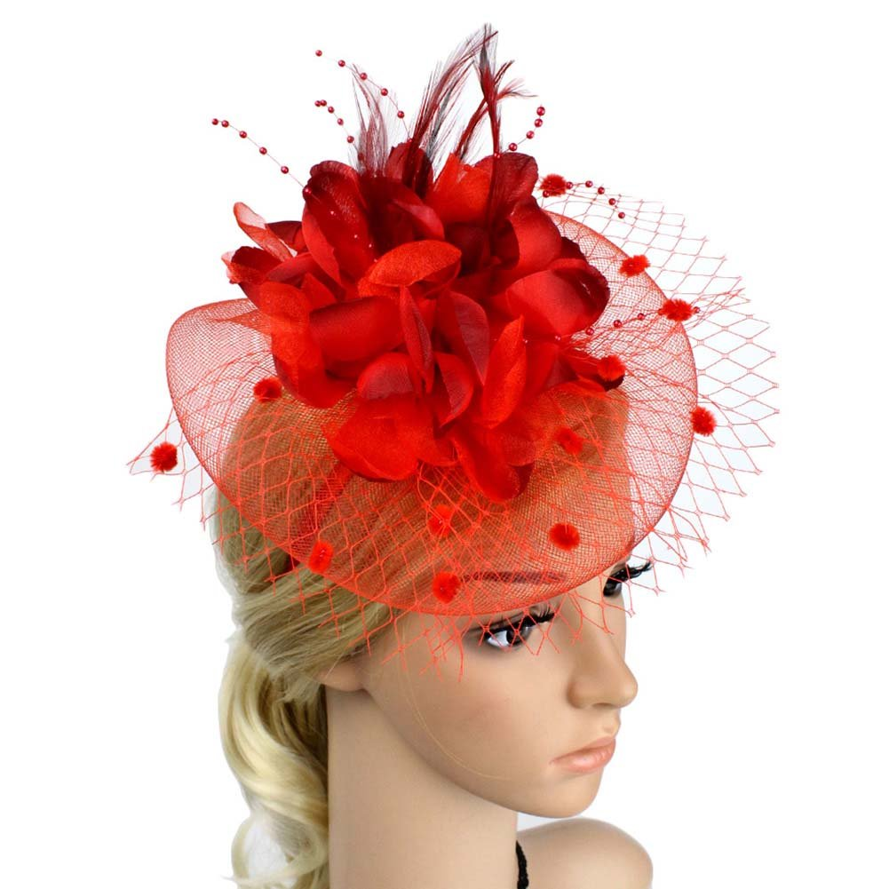 ACTLATI Charming Big Flower Headband Netting Mesh Hair Band Cocktail Hat Party Girls Women Fascinator, Red, One Size