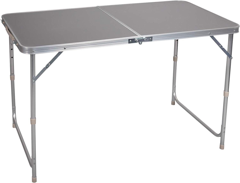 E-starain Mesa de Picnic Mesa de Camping Mesa de Jardín Mesa para Acampada Mesa Auxiliar Aluminio Plegable Portátil y Ajustable en Altura, Aluminio + MDF Gris 120 * 55-70 * 60cm (L x H x W) LENO0006