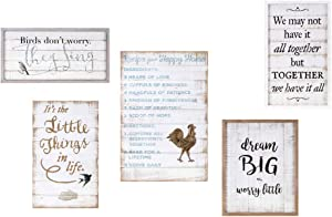 Imax 18360-5 Trisha Yearwood Songbird Inspirational Wall Decors - Set of 5, White