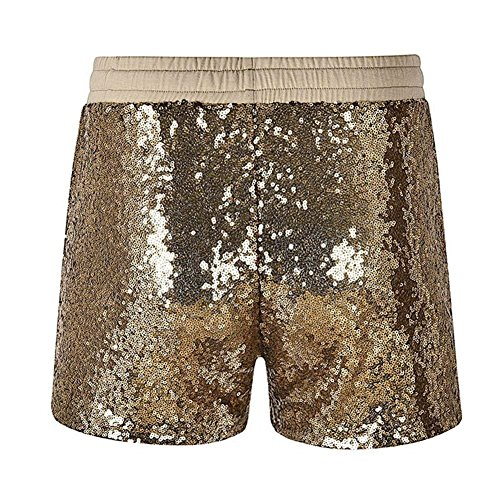 Clubwear Vita Oro Grazioso Donna Party Bello Elastica Paillettes Brillantini Pants Hot Corti Con Slim Shorts Pantaloncini Eleganti Fit Moda Fashion Coulisse XwT4Rxqn7n