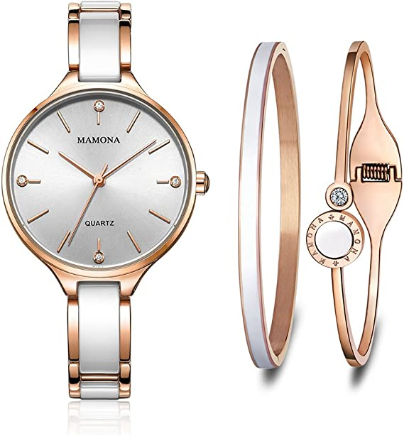 MAMONA Women's Quartz Watch Gift Set Crystal Accented Ceramic and Stainless Steel L3877GT