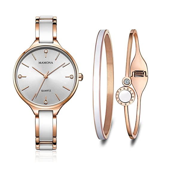 MAMONA Conjunto de Regalo de Reloj y Brazalete para Mujer de Acero Inoxidable y cerámica Oro Rosa con Acentos de Cristal L3877RGGT: Amazon.es: Relojes