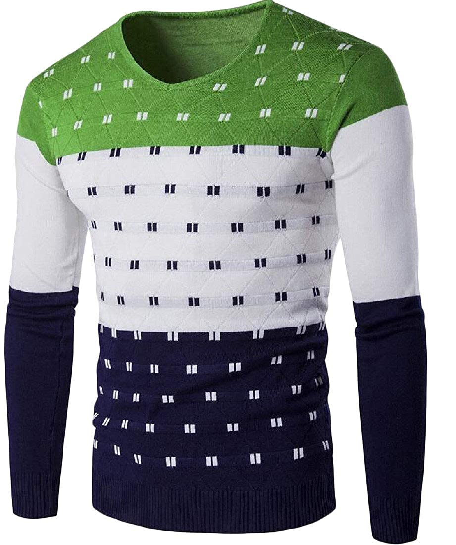 Wofupowga Men Knits Contrast Colors V-Neck Pullover Fashion Jumper Sweaters