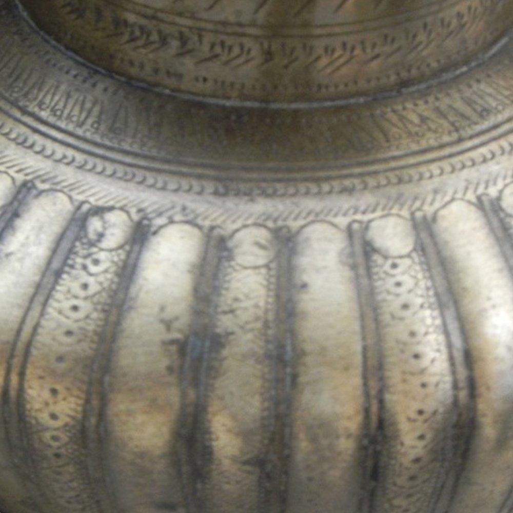 Indianshelf Handmade Bronze Pooja Spiral Design Water Pot Statues Decoration Designer Vintage Statement Pieces Online New by Indian Shelf