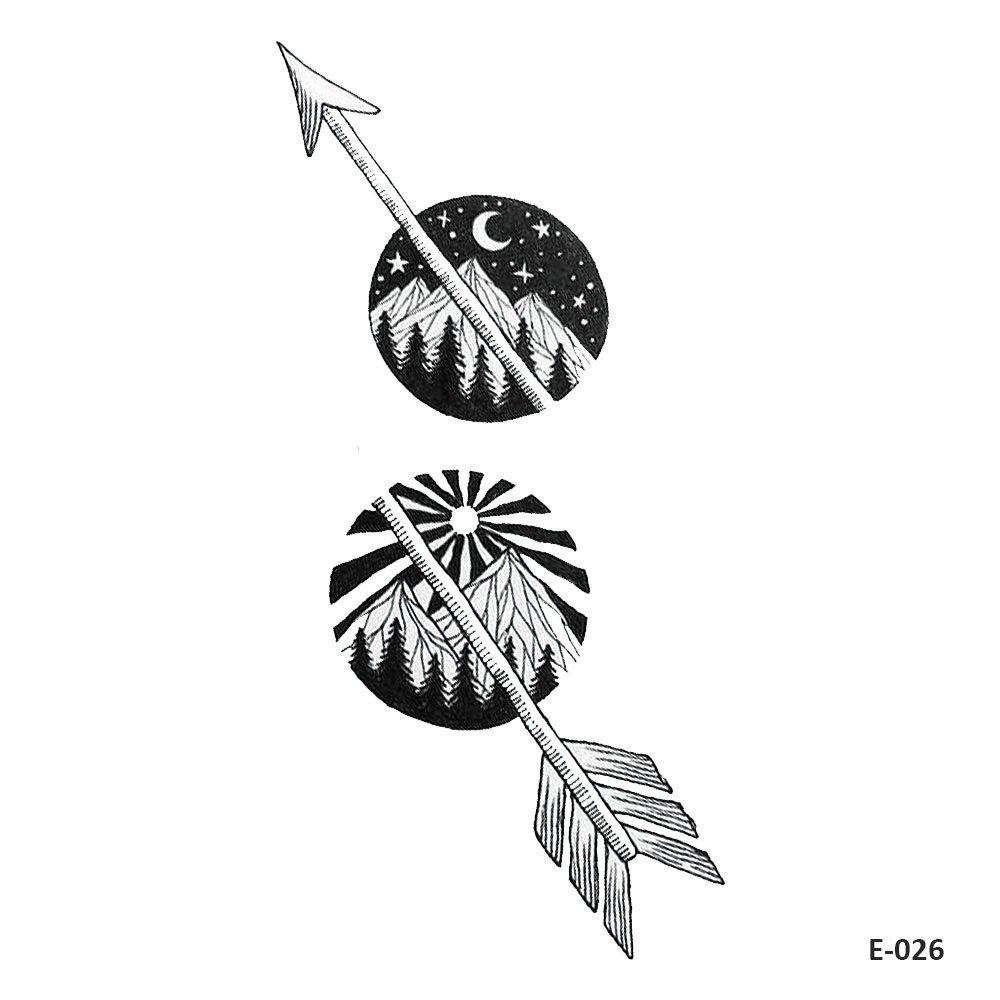 WYUEN 5 Hojas Negro Flecha Temporal Tatuaje Montaña Fake Tatuaje ...