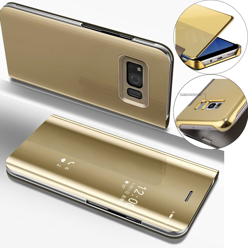 Coque Ultra Mince Plating Clear Miroir Mirror Makeup Portefeuille Magn/étique Cover Coquille avec Fonction de Support pour Samsung S8 Plus:Mirror PU:Black EMAXELERS Samsung Galaxy S8