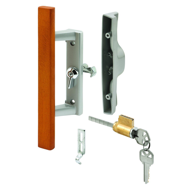 Prime-Line Products C 1064 Keyed Sliding Door Handle Set, Wood Pull, Aluminum Diecast, Viking