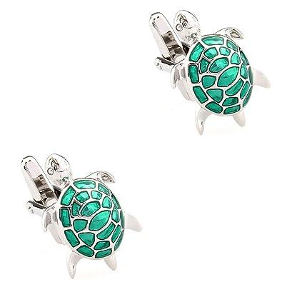CIFIDET Gemelos Mancuernas de tortuga verde plata tortuga moda hombres camisa joyería con caja de regalo: Amazon.es: Joyería