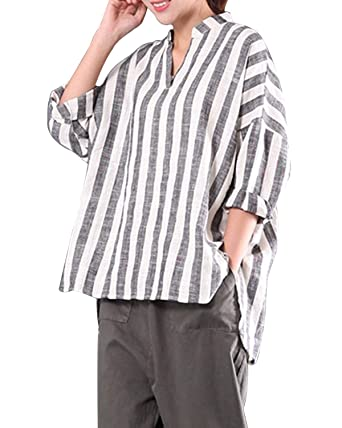 247a53c137a LANISEN Women Plus Size Cotton Linen V Neck Long Sleeve Casual Loose  Striped Blouse Tops Shirts