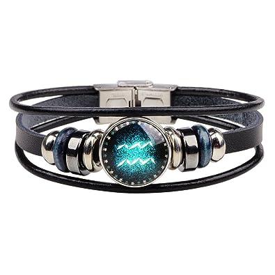Chain & Link Bracelets Useful 2019 Multilayer Beads Charm Bracelets Women Vintage Fashion Men Women Constellation 12 Zodiac Sign Bracelets Punk Woven Leather Traveling Bracelets & Bangles