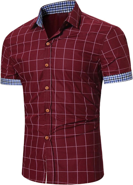 Men Plaid Business Button Down Shirts,LightBlue,S