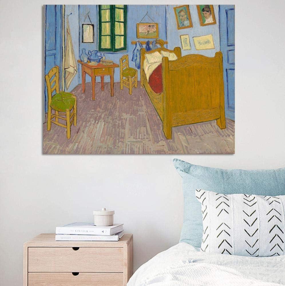 Carteles e impresiones en lienzo Arte de la pared Pintura en lienzo Dormitorio de Vincent en Arles Cuadros decorativos para la sala de estar Decoración del hogar 32x40 pulgadas (80x100cm)