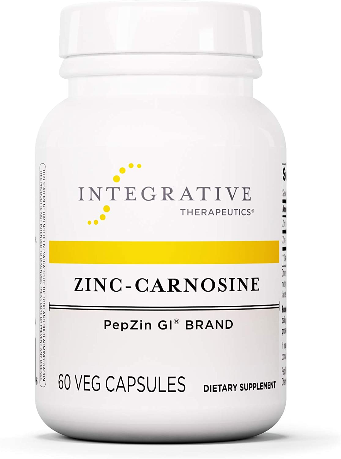 Integrative Therapeutics – Zinc-Carnosine – PepZin GI Brand – Supports Healthy Gastrointestinal Lining Relieve Gastric Discomfort – 60 Capsules