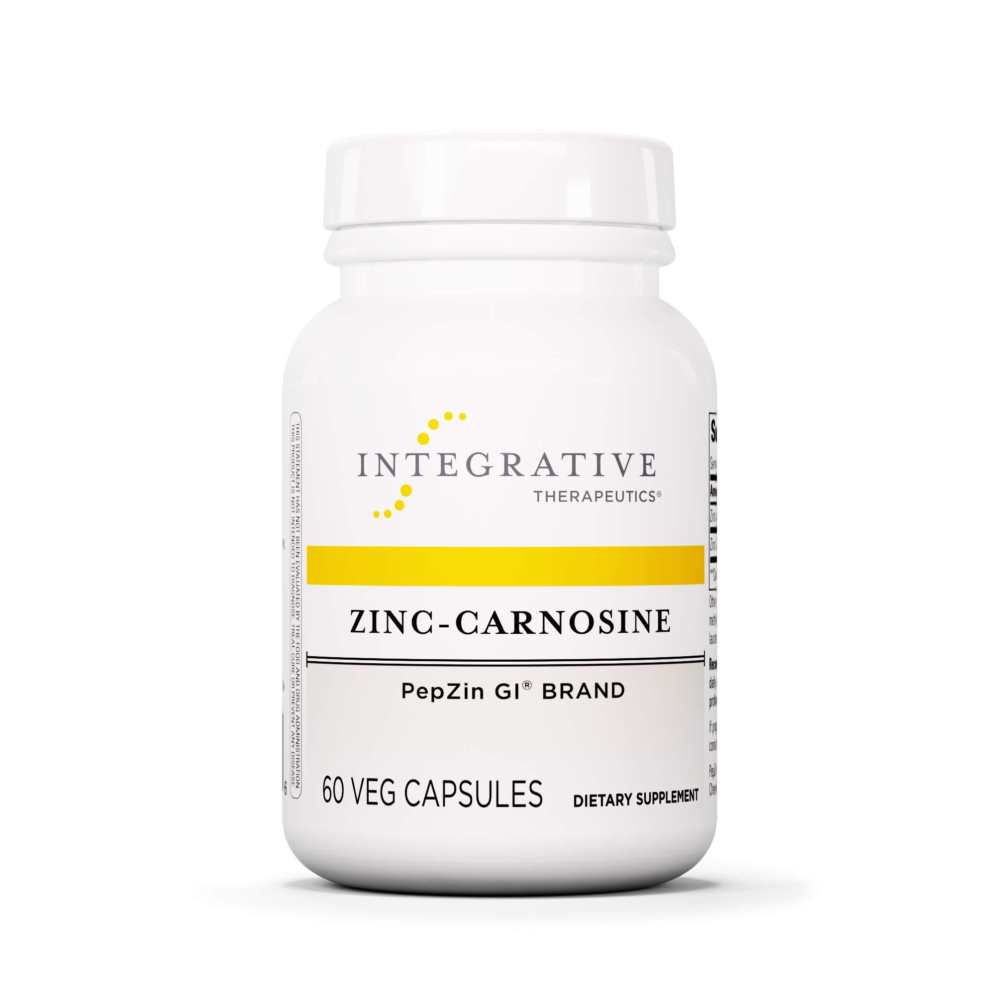 Integrative Therapeutics - Zinc-Carnosine - PepZin GI Brand - Supports Healthy Gastrointestinal Lining & Relieve Gastric Discomfort - 60 Capsules