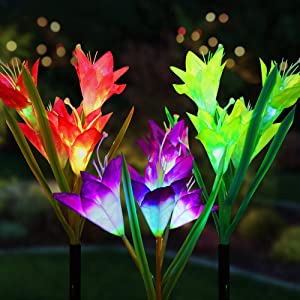 Cotcool 3 Pack Solar Flower Lights,Solar Garden Stake Lights Outdoor with 12 Lily Flowers,Multi-Color Changing LED Solar Decorative Lights for Garden,Patio Lawn Path,Backyard