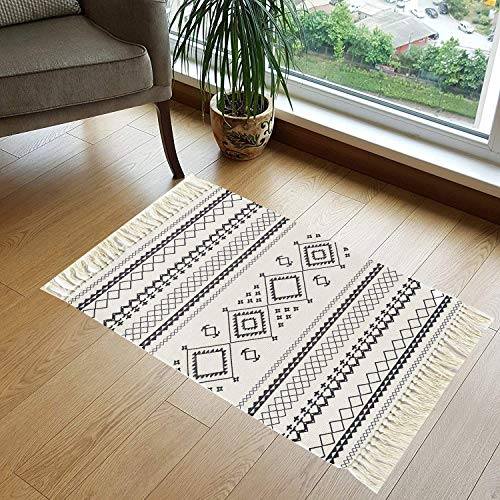 HEBE Printed Cotton Area Rugs Washable Hand Woven Tassel Cotton Rag Rug Carpet Mat for Bedroom, Living Room, Kitchen, Laundry Room Entryway or Throw Blankets for Sofa 2' x 3'