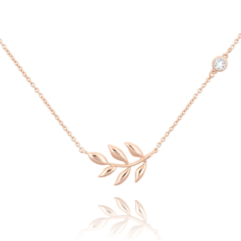 KISSPAT Olive Leaf Pendant Necklace Olive Tree Branch Leaf Necklaces Station CZ Chain for Women(Rose Gold)