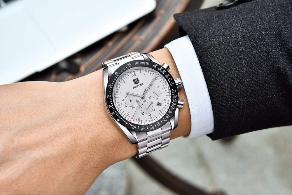 Gskj kvartsklocka för män, mode rostfritt stål kronograf med kalender lysande små tre nålar metallrem rörelsetur Vitt