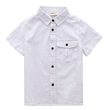 a9f80a716 MOMOLAND Toddler Boys Short Sleeves White Button Down Shirt Linen Design (2  Years)