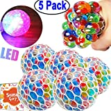 5 Pack Squishy Mesh Ball Stress LED Glowing Squeeze Grape Toys Hand Wrist Squeezing Anxiety Relief Light Up Colourful 2.5'' Balls with Net Fidget Toy for Adults Kids Birthday Back To School Gift