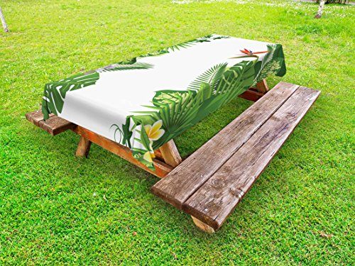 Ambesonne Tropical Outdoor Tablecloth, Lush Growth Rainforest of Hawaii with Frangipani Philodendron Birds of Paradise, Decorative Washable Picnic Table Cloth, 58 X 120 Inches, Multicolor by Ambesonne