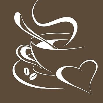 Grandora Wandtattoo Kaffetasse Herz I weiß 40 x 45 cm I Kaffee Tasse Bohnen  selbstklebend Küche Aufkleber Wandaufkleber Wandsticker W3040