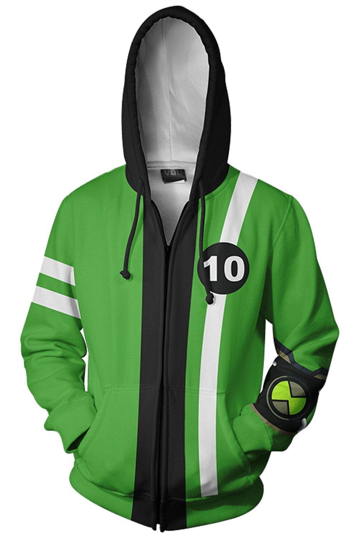 Mesodyn Ben 10 Jacket Benjamin Irby Tennyson Ten Hoodies Sweatshirt Costume,Style1,XLarge
