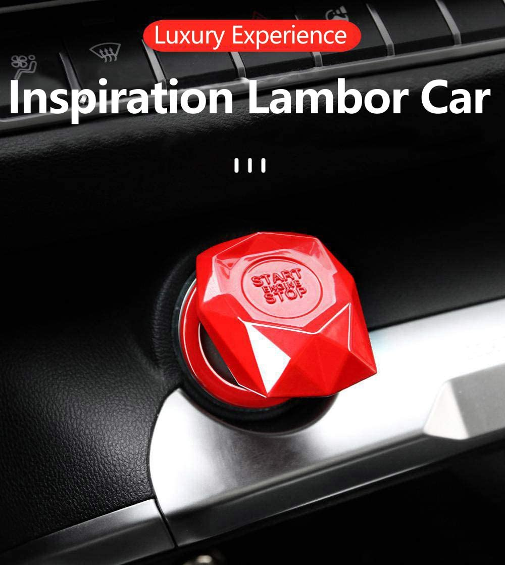Universal Car Engine Start Stop Switch Button Cover Ignition Push Start Stop Button Replacement Red Start Stop Trim Protector Key Ring Decorative Metal Car Accessories,Adapt to Every Car