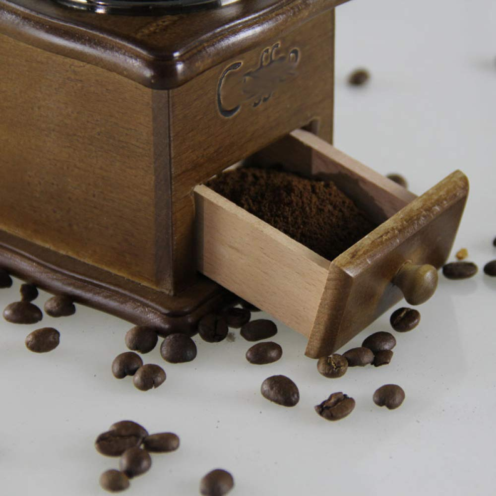 PLLP Solid Wood Hand Grinder/Coffee Bean Machine/Retro Coffee Machine/Mini Coffee Machine/Home Grinder,A,One Size by PLLP (Image #2)