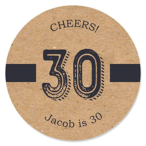 Custom 30th Milestone Birthday - Dashingly Aged to Perfection - Personalized Birthday Party Favor Circle Sticker Labels - Set of 24