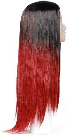 Peluca Recta de 65 cm, Peluca Negra y Roja, Pelo Sintético ...