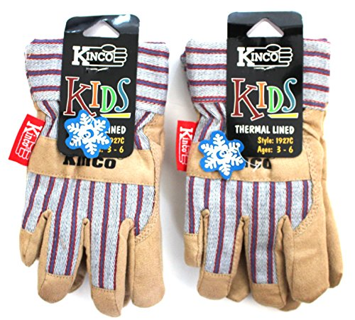 Kinco 1927 Childrens Cold Weather Work and Play Gloves 2-Pack - Lined, Ultra Suede Palm Material with Safety Cuff -Wing Thumb - and Trademark Material on Back Like the Adult Version - Ages 3-6