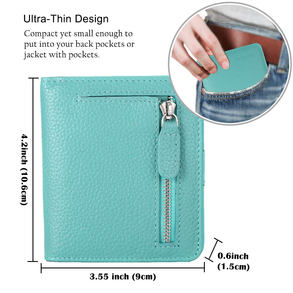 FUNTOR Leather Wallet for women, Ladies Small Compact Bifold Pocket RFID Blocking Wallet for Women, Blue by FT FUNTOR (Image #6)