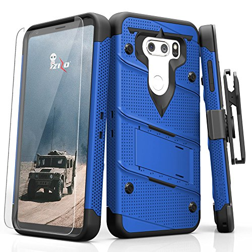 Zizo Bolt Series Compatible with LG V30 Case Military Grade Drop Tested with Tempered Glass Screen Protector, Holster LG V35 ThinQ Case Blue Black