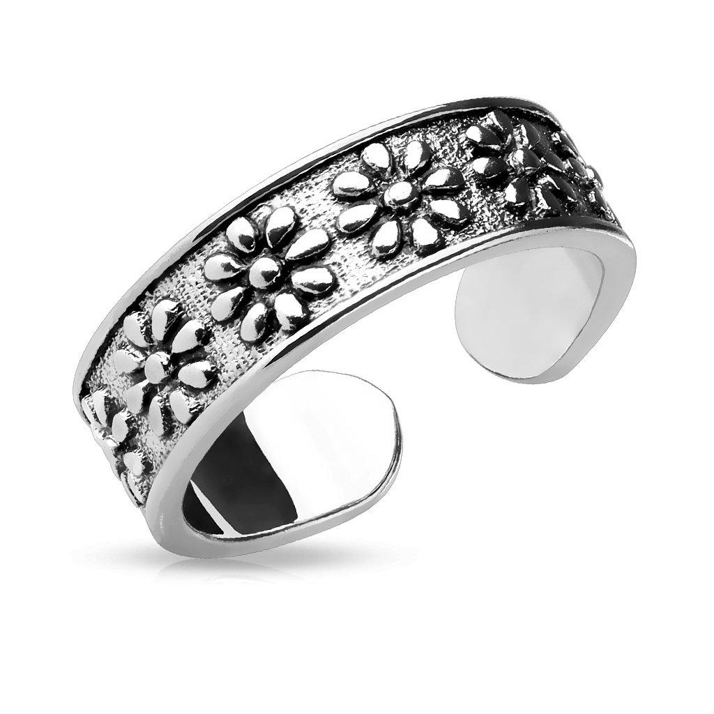 Flowers Adjustable Rhodium Plated Brass Finger Mid-Ring or Toe Ring FifthCue JQR-A16525