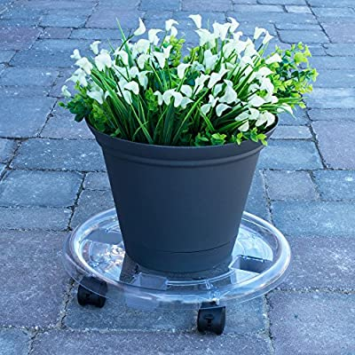 HowPlumb 2 Pack 15-in. Round Clear Plastic Roller Planter Caddies: Garden & Outdoor