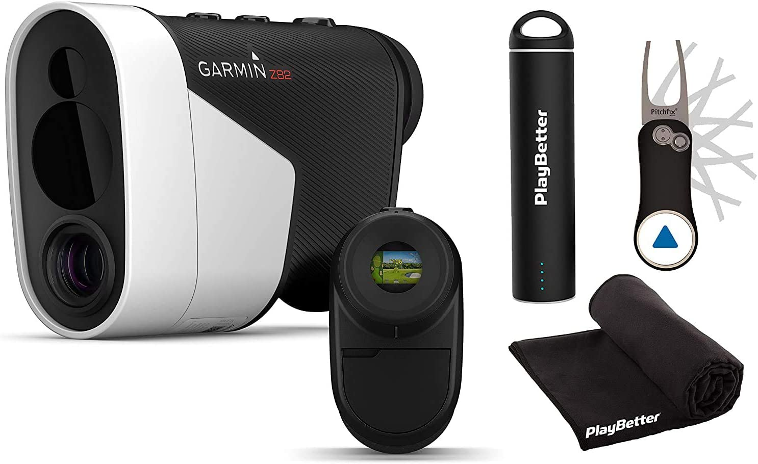 Garmin Approach Z82 (2020 Release) Player's Bundle | Hybrid Rangefinder/GPS, Image Stabilization, GreenView | +Garmin Pitchfix, PlayBetter Portable Charger & Microfiber Towel | Laser Golf Rangefinder