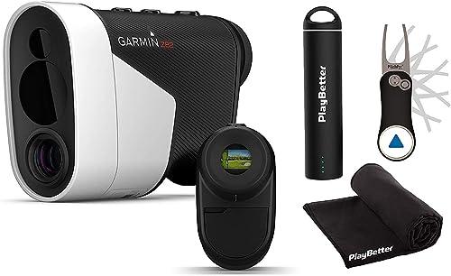 Garmin Approach Z82 2020 Release Player s Bundle Hybrid Rangefinder GPS, Image Stabilization, GreenView Garmin Pitchfix, PlayBetter Portable Charger Microfiber Towel Laser Golf Rangefinder