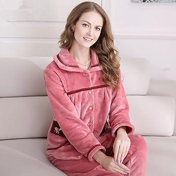 hollwald invierno par forro polar grueso mantener caliente camisón de pijamas de manga larga para de