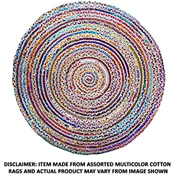 This Item Cotton Craft Jute U0026 Cotton Multi Chindi Braid Rug, Hand Woven  Reversible, 4 Feet, Colors May Vary