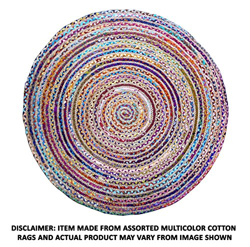 Cotton Craft - Hand Woven Reversible Jute & Cotton Multi Chindi Braid Rug - 4 Feet Round - This Rug is made from multi color re-cycled yarns, actual product may vary in color from the image shown