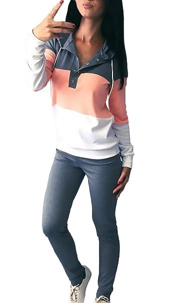 Donna Tute Ginnastica Eleganti Manica Lunga Felpa con Cappuccio E Lunghi  Cute Chic Sportivi Due Pezzi Set Colori Misti Fashion Casual Autunno Inverno  ... 0ec79eafd98