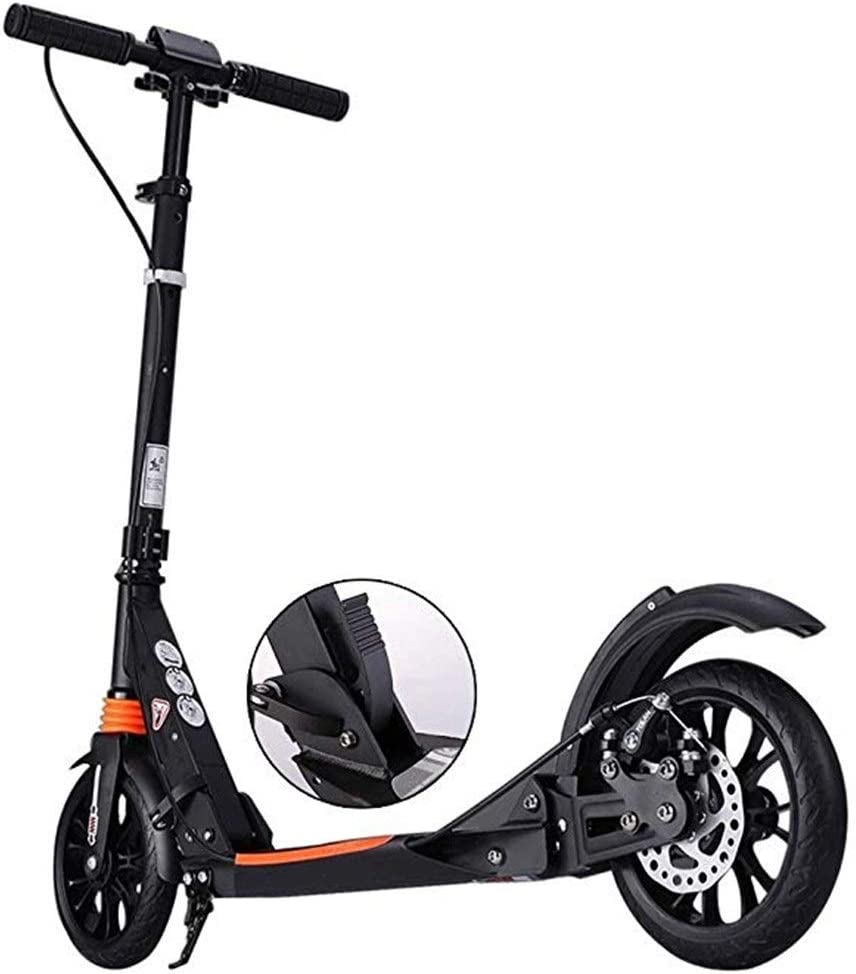 Patinetes Scooter De Pedal For Adultos con Freno De Disco Manual De Rueda Grande, Scooter Plegable De Doble Suspensión, Altura Ajustable (Color : Black)