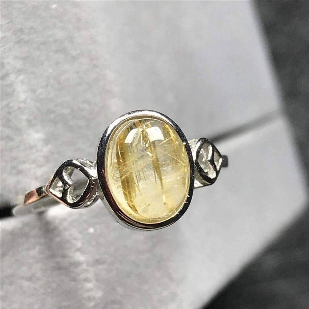 CTDMMJ Anillo de Oro rutilado Joyas para Mujer Señora Hombre Cristal 10x8mm Cuentas de Flores Anillo Ajustable de Piedras Preciosas de Cuarzo Plateado
