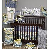 7 Piece Baby Yellow Blue Grey Chevron Crib Bedding Set, Newborn Patterned Themed Nursery Bed Set Infant Child Geometric Zebra Print Dots Cute Adorable Blanket Comforter, Cotton Polyester