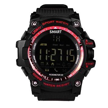 Longra Reloj Relojes Deportivos Inteligentes Digitales Reloj Bluetooth Fitness Tracker para iOS y Android (Rojo): Amazon.es: Deportes y aire libre