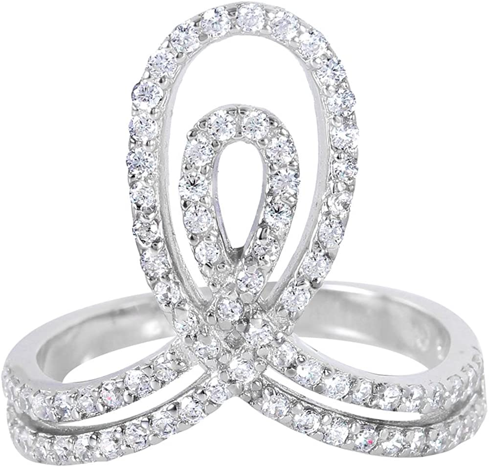 Princess Kylie Pave Set Double Coil Designer Ring Rhodium Plated Sterling Silver