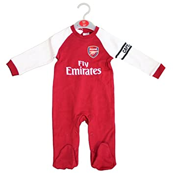 18d91ea76 Arsenal FC Official Football Gift Home Kit Baby Sleepsuit  Amazon.co ...