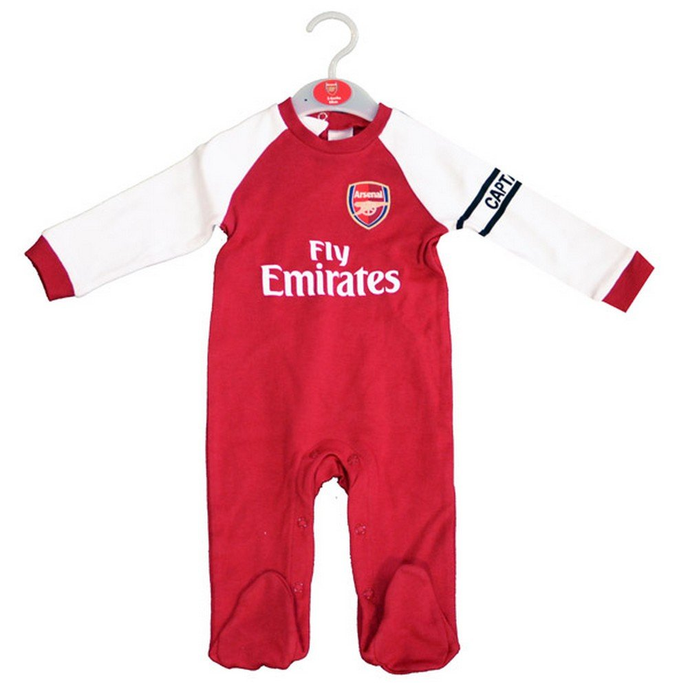 Arsenal FC Official Football Gift Home Kit Baby Sleepsuit Red White 0-3 Months