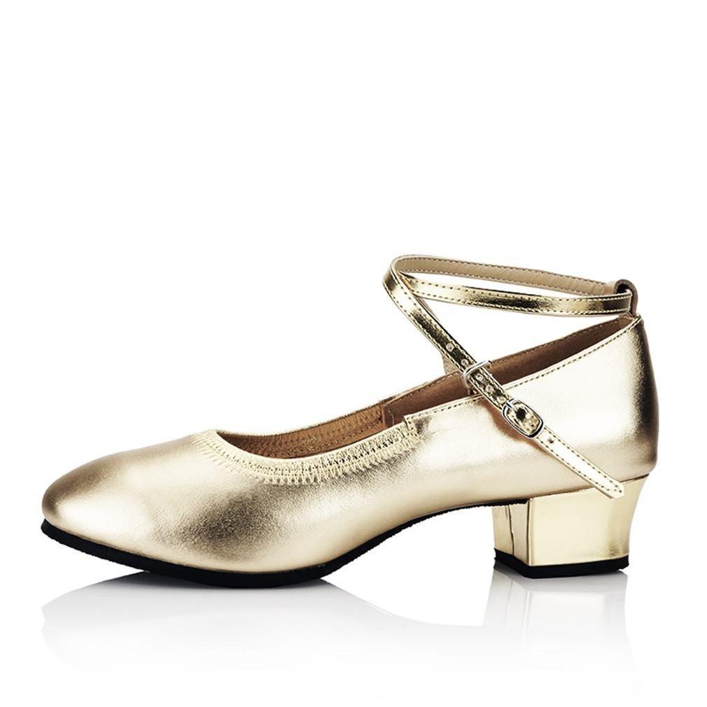BYLE Leder Sandalen Riemchen Samba Modern Jazz Dance Schuhe Leder Tanz Schuh im Sommer Nach Weichen Goldenen 3 5CM